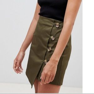 ASOS ASYMMETRIC WRAP MINI SKIRT WITH BUTTON FRONT